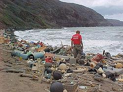 Plastik wird manchmal auch an die Küste gespült, wie hier in Hawaii