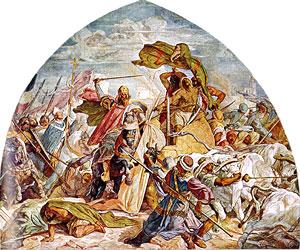 Karl der Grosse in der Schlacht bei Córdoba; Freske von Alfred Rethel