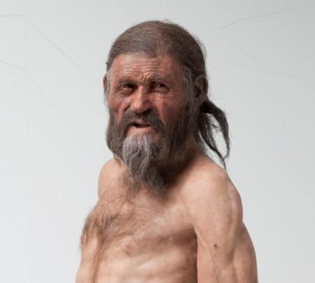 Ötzi. wie sich ihn die holländischen Künstler Adrie und Alfons Kennis vorstellen.