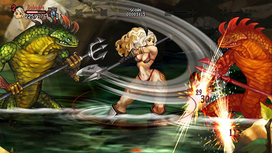 Dragon's Crown Amazone im Kampf