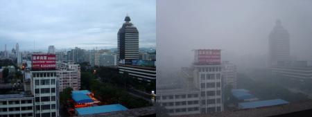 Peking ohne und mit Smog; Quelle: Wikipedia, User Bobak