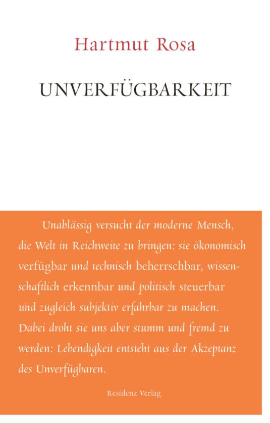 Buchcover des Buches Unverfügbarkeit von Hartmut Rosa